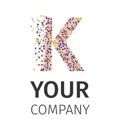 Alphabet particles logotype Letter-K vector image