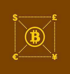 bitcoin and other currency concept vector image vector image