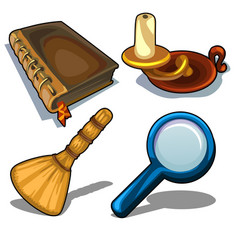 Candlestick book magnifying glass and droom vector
