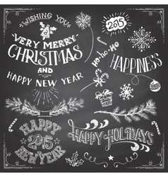 Christmas and New Years elements set vector image vector image