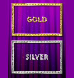 Cinema silver and gold shape frame vector