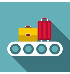 Conveyor belt with baggage icon flat style vector