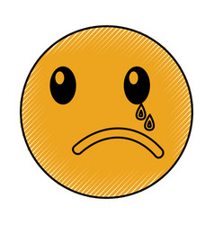 crying emoticon face kawaii style vector image vector image