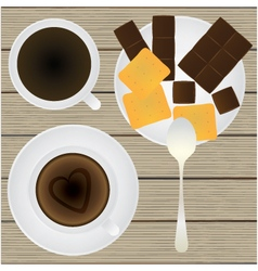 Cup of coffee saucer teaspoon chocolate cookies vector