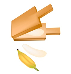 Delicious ripe bananas in a wooden press vector