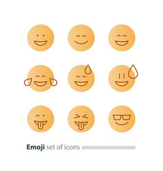 Emoji icons emoticon symbols face expression signs vector
