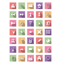 Flat icon set collection vector image vector image