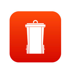 garbage bin icon digital red vector image