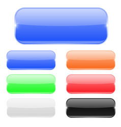 glass rectangle buttons colored set vector image vector image
