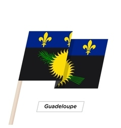 Guadeloupe ribbon waving flag isolated on white vector