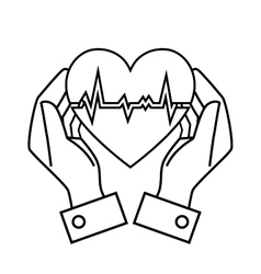 Hand drawing hand hold heart rate design vector
