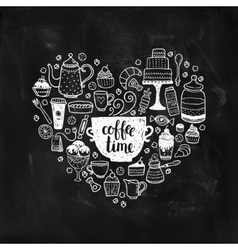 Hand drawn coffee time vector