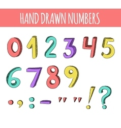 Hand drawn colorful numbers vector image