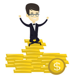 Happy business man sitting on golden coins vector