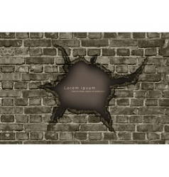 Hole in the brick wall with shadows vector