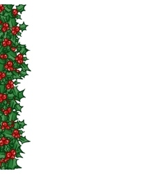 Holly with berry side border vector
