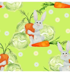 Rabbit with vegetables seamless pattern vector image