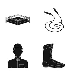 Ring rope referee sneakers boxing set vector