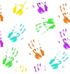Seamless pattern colorful hand prints vector