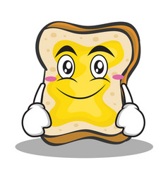 Smile face bread character cartoon vector