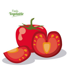 Tomato fresh vegetables juicy half image vector