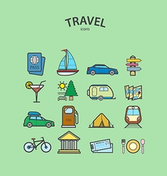 Travel and Tourism icons set vector image vector image