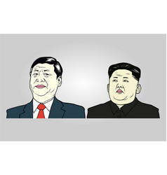 Xi jinping and kim jong-un editorial vector