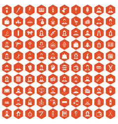100 hairdresser icons hexagon orange vector