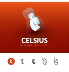 Celsius icon in different style vector