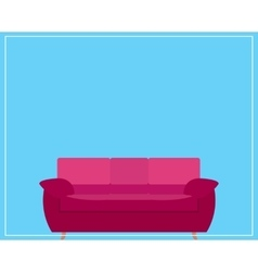 Pink Sofa Icon on Blue Background vector image