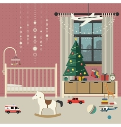 Christmas baby room interior vector