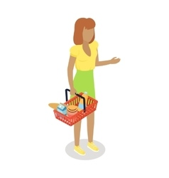 Woman with cart purchases in flat design vector