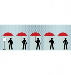 Queue in rain vector