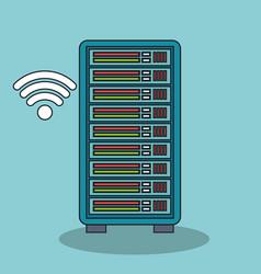 Icon data base wifi digital isolated vector