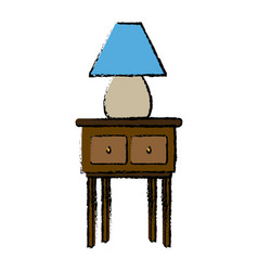 lamp light in wooden table wooden furniture vector image