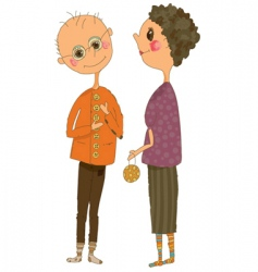 Cartoonn of an older couple vector