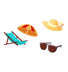 lounge chair beach umbrella straw hat sunglasses vector image