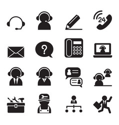 Customer service and support icon set vector