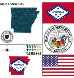 Map of Arkansas with seal vector image