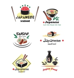 Colored japanese seafood set vector