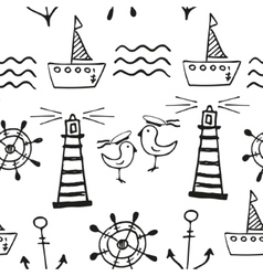 Sea seamless pattern hand-drawn doodles vector