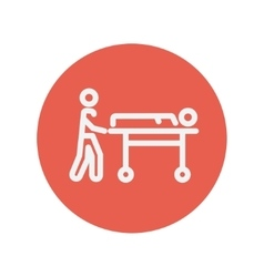 Man pushing the stretcher with sick person thin vector