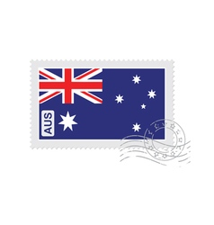 Australia flag old postage stamp vector