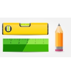 Pencil level and ruler icon vector