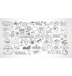 Business doodles sketch set infographics elements vector