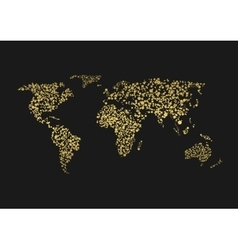 Golden world map vector