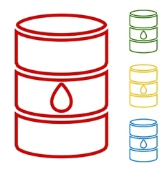 Oil barrel sign set of line icons vector