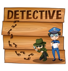 Detective and policeman working together vector