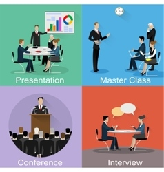 Conference banner set with business concept vector