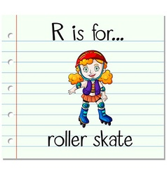 Flashcard letter r is for roller skate vector